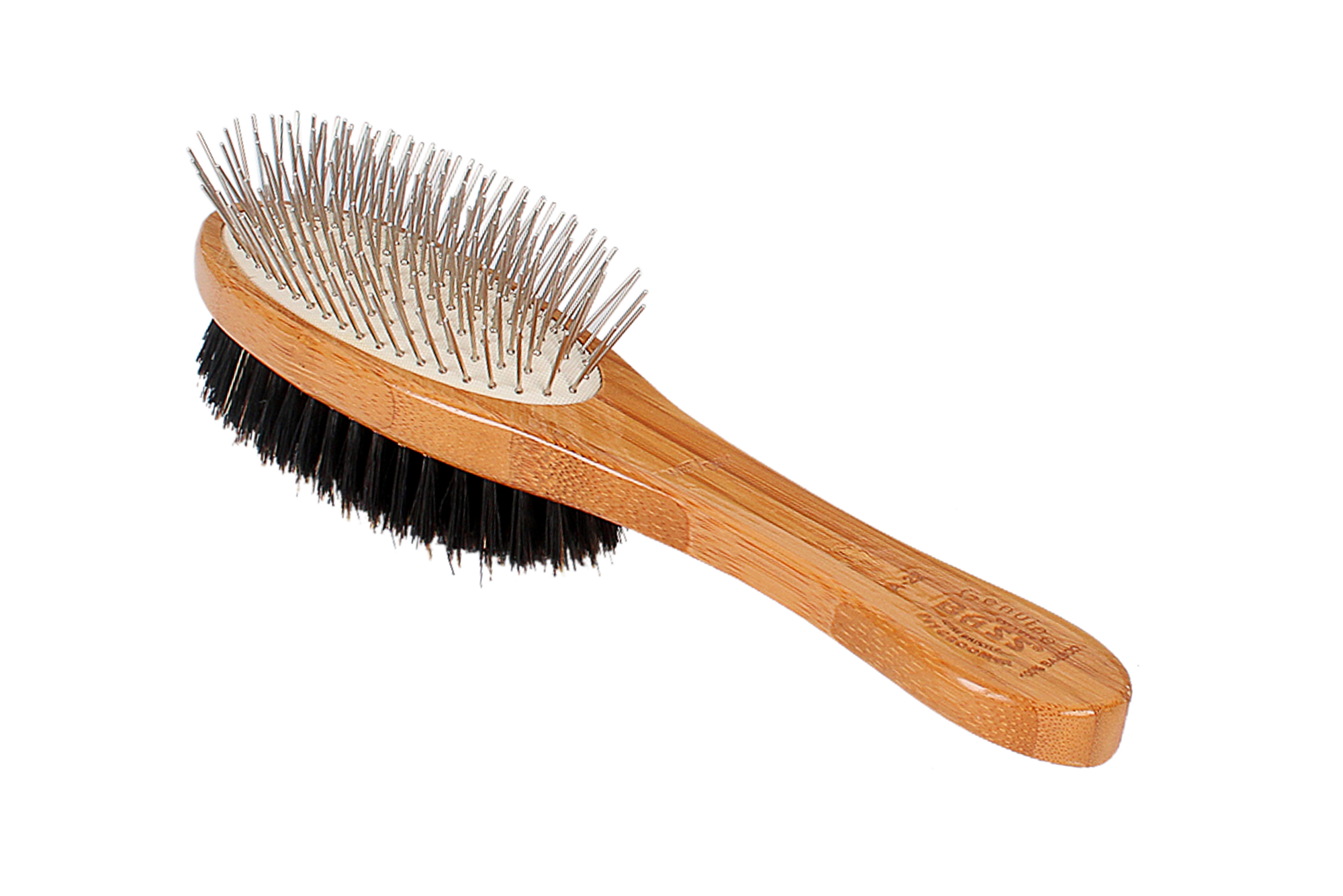 A22 Bamboo Dual Head Natural Boar Bristle + Alloy Pin Brush 3
