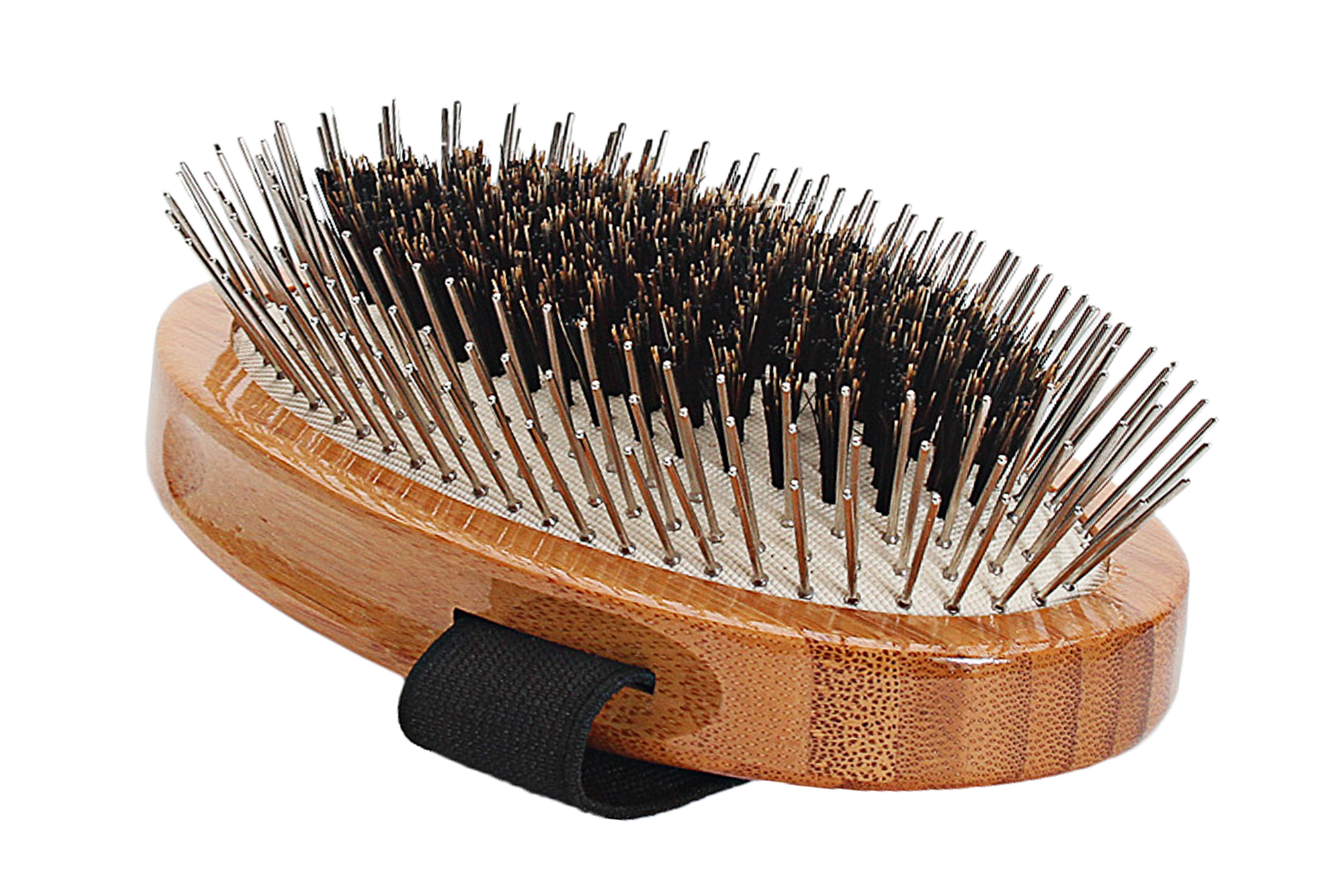 A5 Bamboo Alloy Pin + Natural Boar Bristle Fusion Palm Brush 3