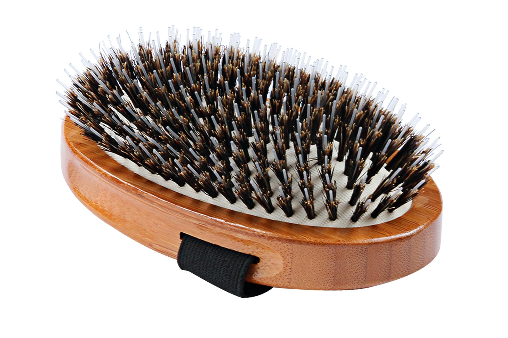 A7 Bamboo Nylon Pin + Natural Boar Bristle Fusion Palm Brush 3